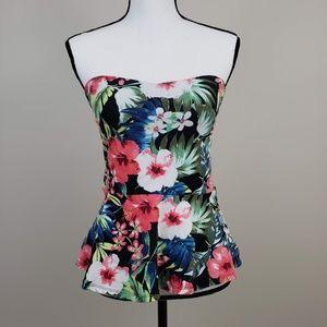 Express Cotton Blend Floral Strapless Peplum Top